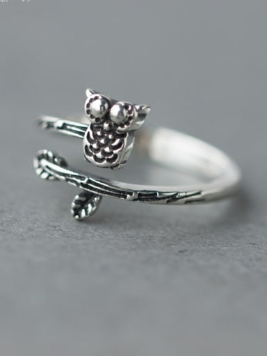 S925 Silver Retro Style Owl Shape Cocktail Ring
