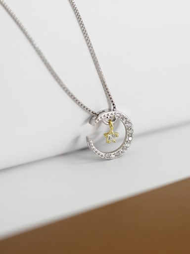 Fashion Tiny Zircon-studded Moon Star Pendant Silver Necklace