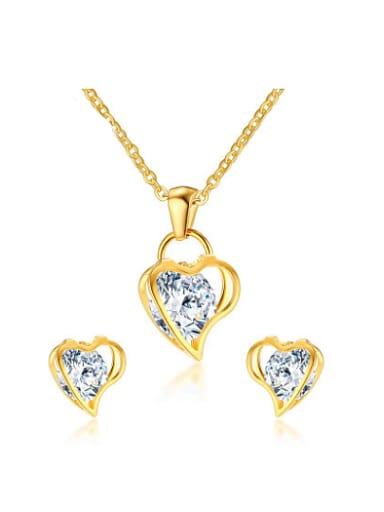 Elegant Heart Shaped Zircon Titanium Two Pieces Jewelry Set