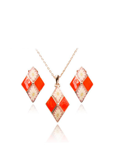 Ethnic Style Diamond Shaped Polymer Clay Two Pieces Jewelry Set