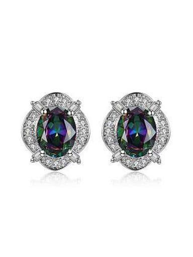 Fashion Exquisite Oval Zircon Stud Earrings