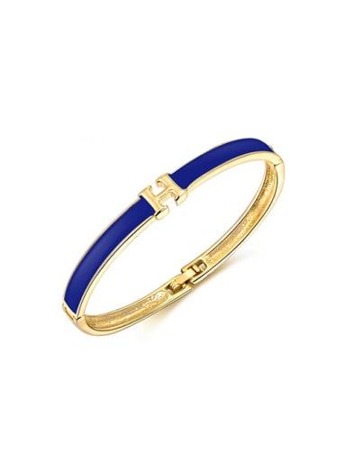 Blue Letter H Shaped Acrylic Bangle