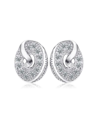 Round Micro Pave Zircons Stud Earrings