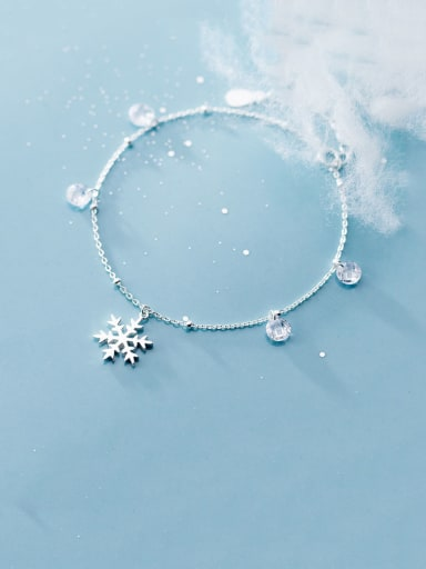 925 Sterling Silver With Platinum Plated Fashion Snowflake Bracelets