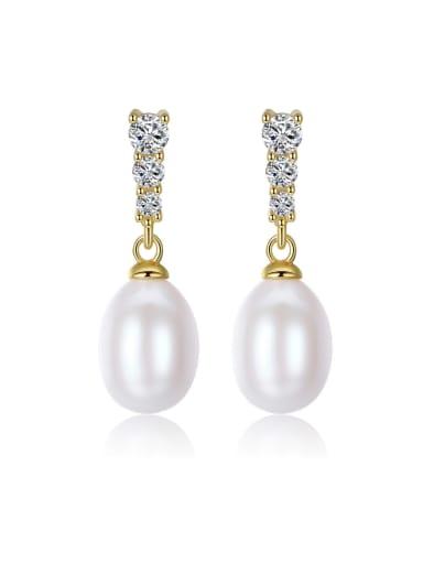 Sterling silver fresh water 8-9mm natural pearl earrings