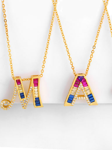 Copper With  Cubic Zirconia Fashion Monogrammed & Name Necklaces
