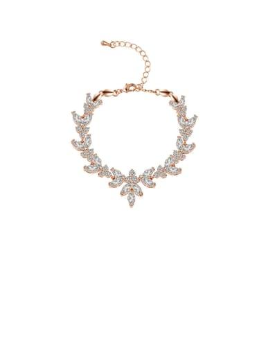 Copper With Cubic Zirconia Delicate Flower Adjustable  Bracelets