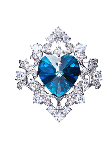 Blue Heart-shaped Brooch