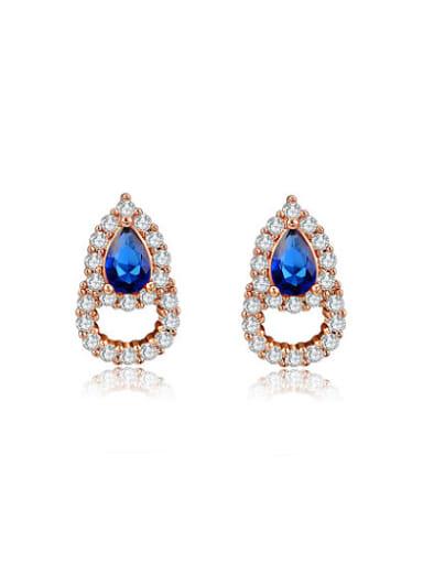 Exquisite Double Water Drop Shaped Zircon Earrings