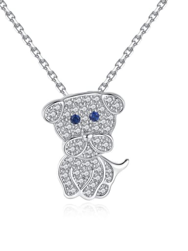 Copper With 3A cubic zirconia Cute dog Necklaces