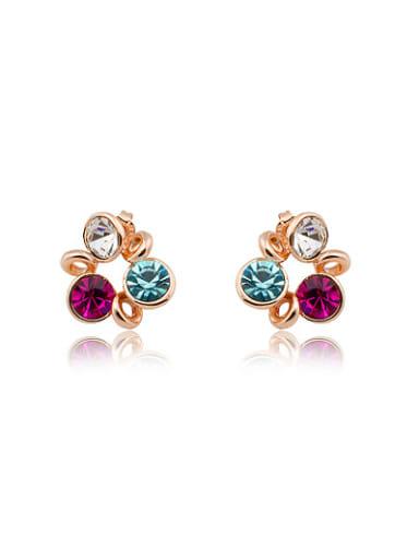 Multi-color Austria Crystal Geometric Shaped Stud Earrings