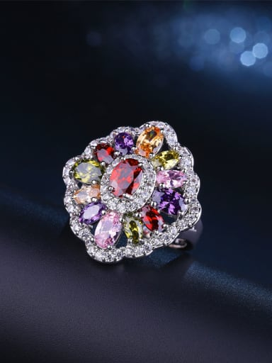 White Gold Plated Colorful Ring