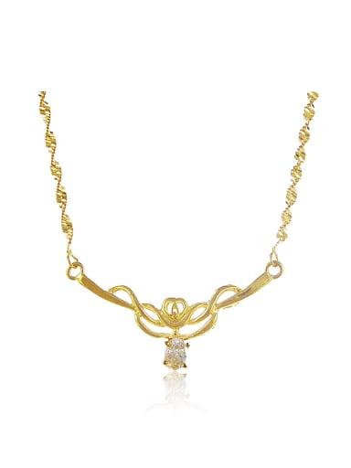 Elegant 24K Gold Plated Flower Design Rhinestone Necklace