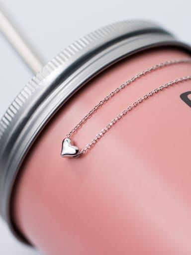 Sterling silver glossy love mini necklace Clavicular chain