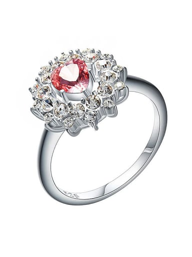 925 Silver Flower-shaped Engagement Ring