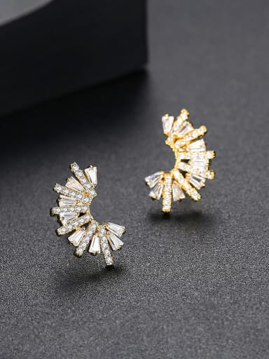 Copper With AAA Cubic Zirconia Fashion Irregular shine Stud Earrings