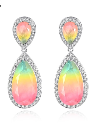 Copper With White Gold Plated Fashion Water Drop Drop Earrings