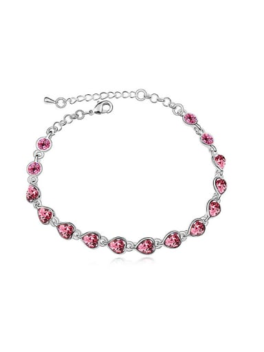 Simple Little Heart Swarovski Crystals Alloy Bracelet