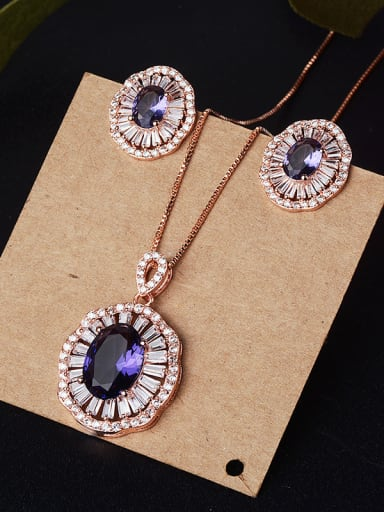 Copper With Glass stone Classic Oval 2 Piece Jewelry Set
