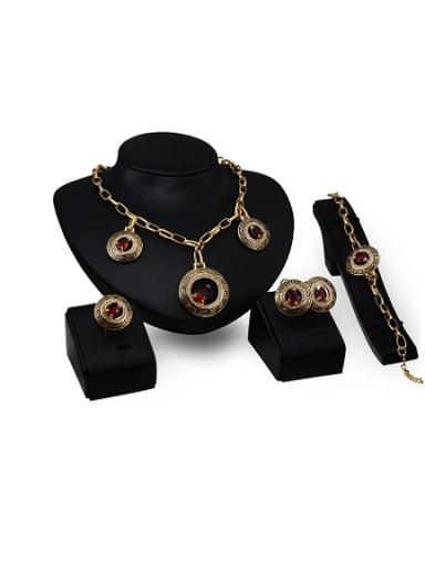 Alloy Imitation-gold Plated Vintage style Artificial Stones Round-shaped Four Pieces Jewelry Set