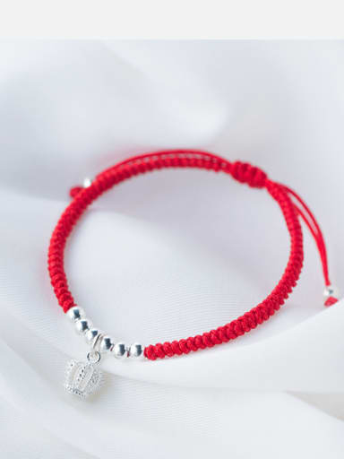 Sterling silver Crown hand-woven red thread bracelet