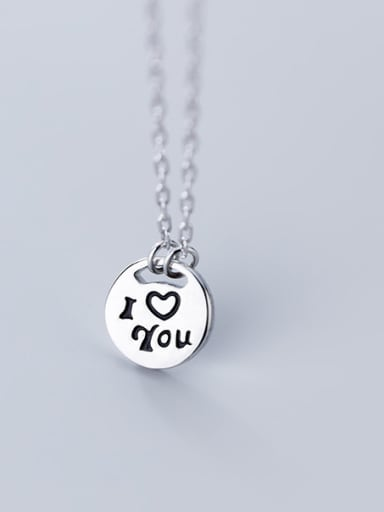 "925 Sterling Silver With Classic Round ""I LOVE YOU""Monogram & Name Necklaces"