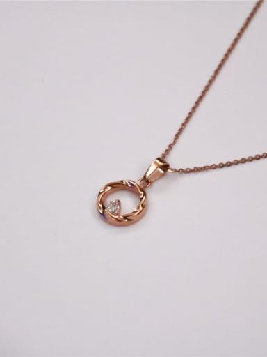 Round Pendant Zircon Clavicle Necklace
