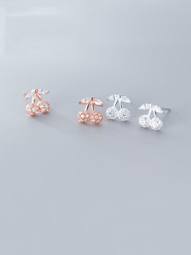 925 Sterling Silver With Rose Gold Plated Cute Friut  Cherry Stud Earrings