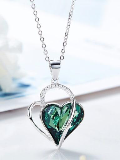 Fashion Swarovski Crystal 925 Silver Heart Pendant