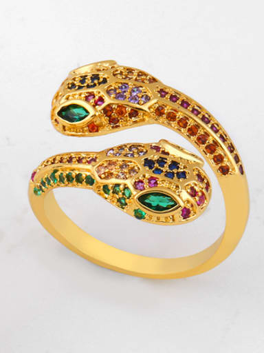 Copper With  Cubic Zirconia Exaggerated Animal Snake Statement Rings