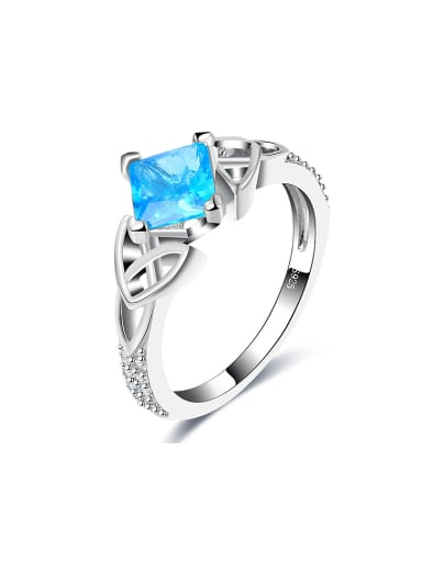 Delicate Square Shaped Glass Bead Ring