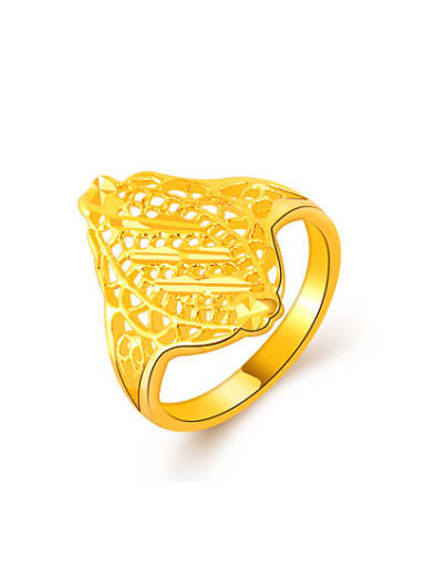 Exquisite 24K Gold Plated Hollow Geometric Design Copper Ring