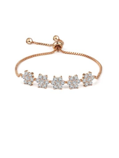 Copper With Cubic Zirconia  Classic Flower Adjustable Bracelets