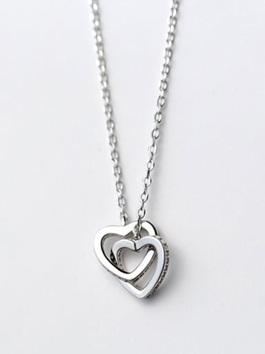 Exquisite Double Heart Shaped S925 Silver Necklace