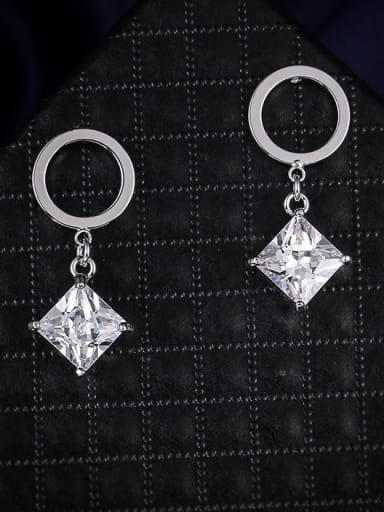 Copper With Cubic Zirconia Simplistic Square Drop Earrings