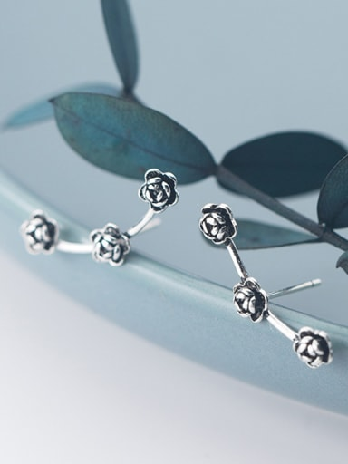 925 Sterling Silver With Antique Silver Plated Fashion Rosary Stud Earrings
