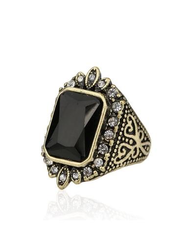 Retro Ethnic style Rectangular Resin stone Alloy Ring