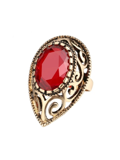 Retro style Oval Resin stone Water Drop Alloy Ring