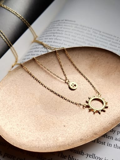 Sterling silver plated gold sun smiley double necklace