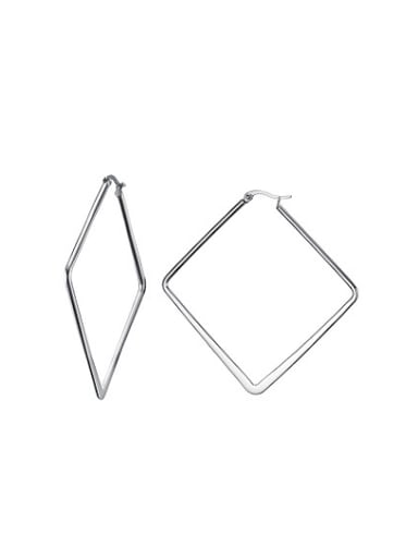 All-match Square Shaped Stainless Steel Clip Earrings