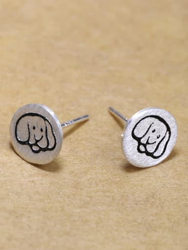 Tiny 925 silver Puppy Dog-etched Stud Earrings