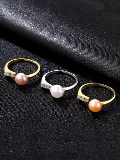 Sterling Silver Natural 7-7.5mm freshwater pearl free size ring