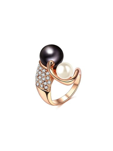 Personality Double Color Artificial Pearl Ring