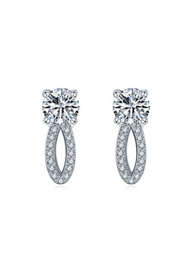 Exquisite White Gold Plated Mark Shaped Zircon Drop Earrings