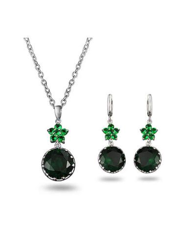 Women Green Flower Shaped Zircon Two Pieces Jewelry Set