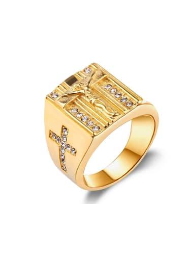 Punk style Gold Plated Cross Jesus Rhinestones Titanium Ring