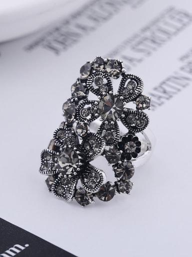 Retro style Exaggerated Black Rhinestones Alloy Ring