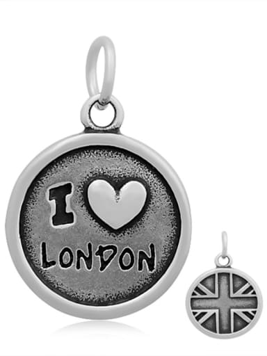 Stainless Steel With Antique Silver Plated Vintage Round Charms