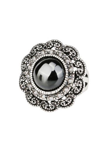 Retro style Black Resin stone Grey Rhinestones Alloy Flowery Ring