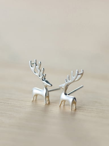 S925 Silver Fashion Cute Elk Stud cuff earring
